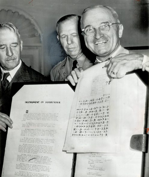 Truman with Japanese surrender