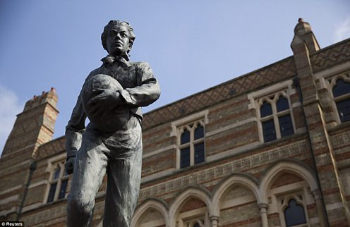 The inspiration A statue at Rugby School depicting the moment