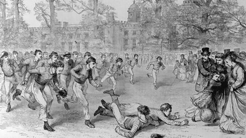 Football as played at Rugby school in the mid 1800s
