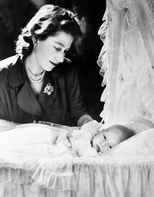 Elizabeth II with baby Charles