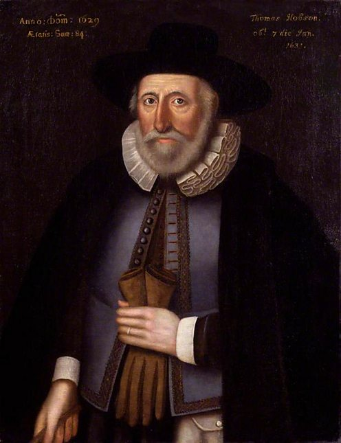 Thomas Hobson (copy after an original of 1629) by unknown artist. (c) NPG