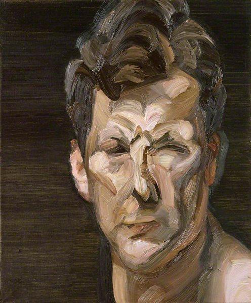 Man's Head (Self Portrait III) 1963 by Lucian Freud. (c) National Portrait Gallery