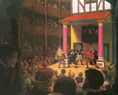 Depiction of the first theatre in Britain