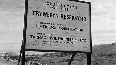 Work on the Tryweryn dam, and views of a forlorn valley