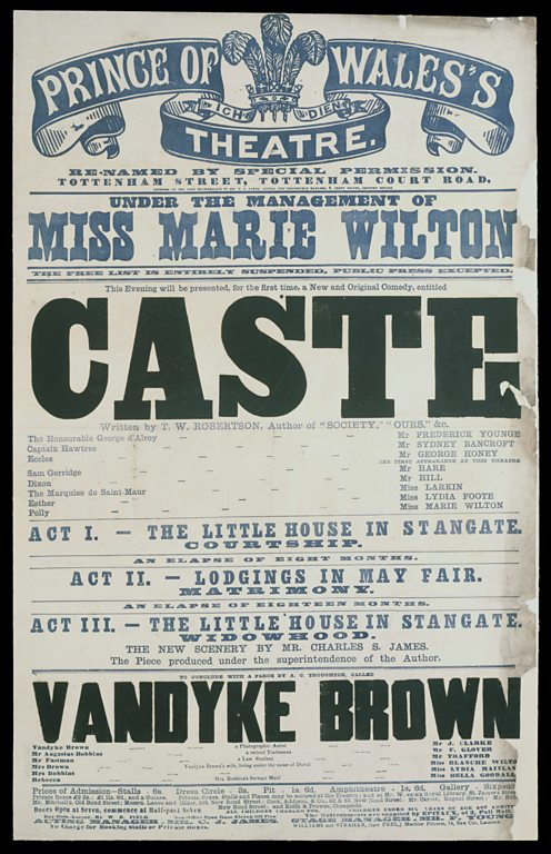 Poster advertising 1867 performance of Caste