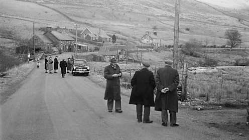 A group of people at the village of Capel Celyn in the Tryweryn Valley (copyright Getty)
