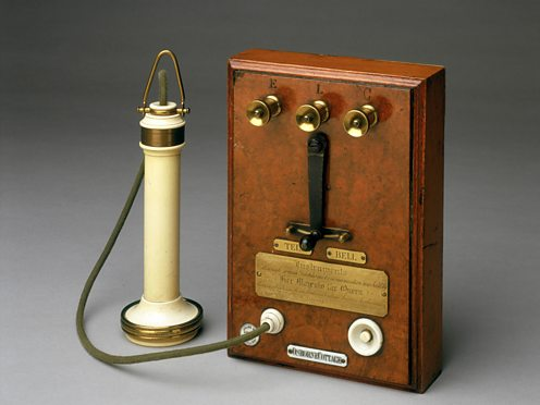 Early Bell telephone and terminal panel, 1877