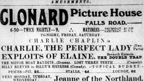 Poster for a Charlie Chaplin film at a Falls Road cinema.