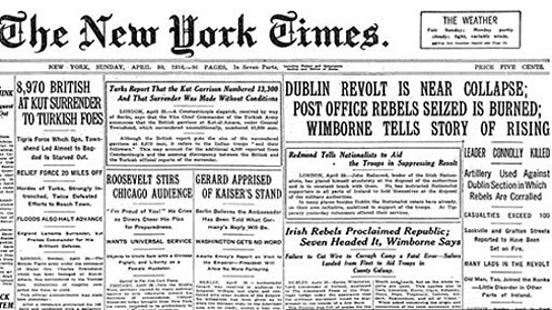 New York Times front page in 1916 reporting on the Easter Rising in Dublin.