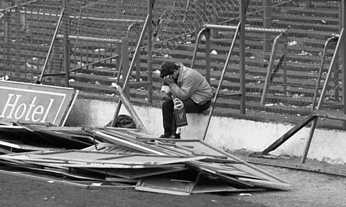 Despair of fan at Hillsborough. Copyright Press Association / David Giles