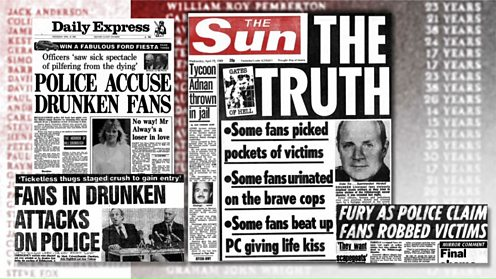Newspaper reports of the Hillsborough disaster