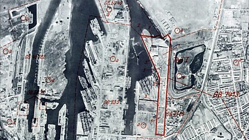 A German map of Belfast port, with Luftwaffe targets marked in red (Imperial War Museum).