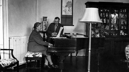 Agatha Christie playing piano