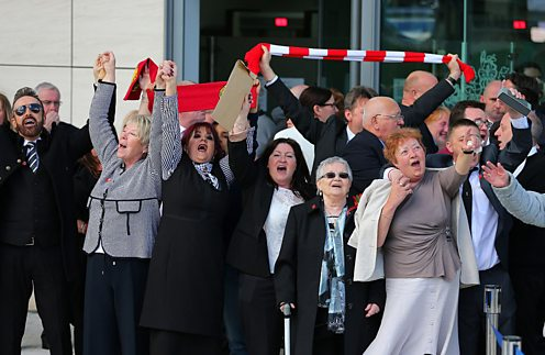 Families react as the Hillsborough inquest jury concludes fans were unlawfully killed.