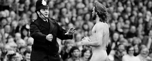 A streaker invades a match between England and France at Twickenham on 20 April 1974.