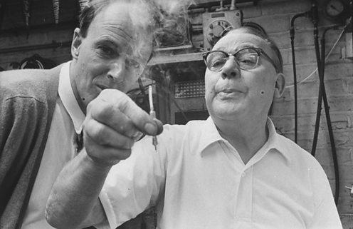 Roald Dahl with inventor Stanley Wade