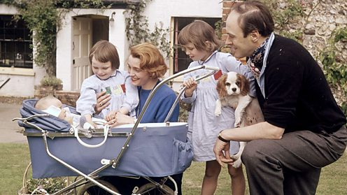 Roald Dahl with his family, 1962