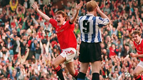 Steve Bruce celebrates scoring the winner against Sheffield Wednesday in 1993.