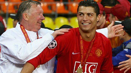 Sir Alex Ferguson and Cristiano Ronaldo celebrate winning the Champions League in 2008.