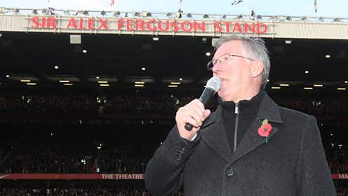 The Sir Alex Ferguson Stand is unveiled at Old Trafford.