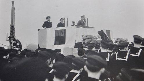 Eisenhower addressing the crew aboard the Texas 1944 US NATIONAL ARCHIVES