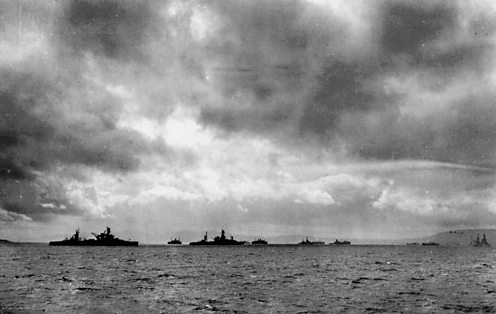 The Belfast Lough anchorage 1944 Arkansas on left Texas on right US NATIONAL ARCHIVES