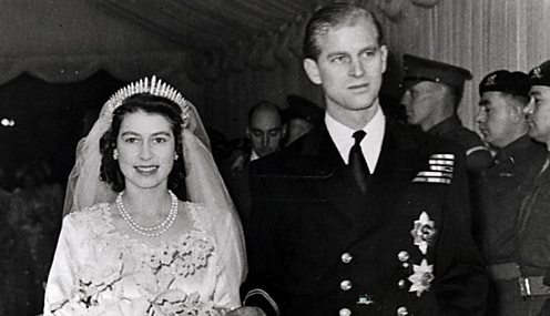 Queen and Prince Philip on their wedding day
