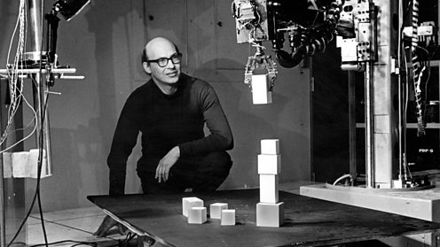 Marvin Minsky in a lab at M.I.T. in 1968