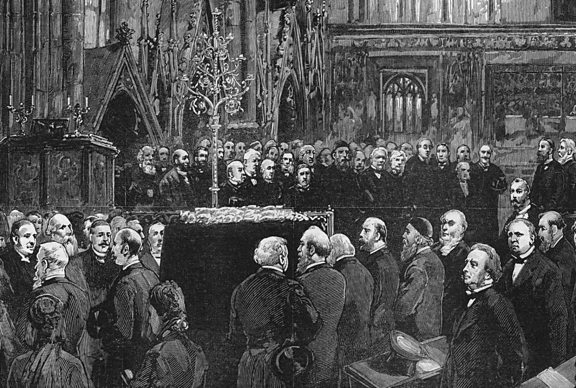 Sketch of Darwin's funeral at Westminster Abbey in 1882.