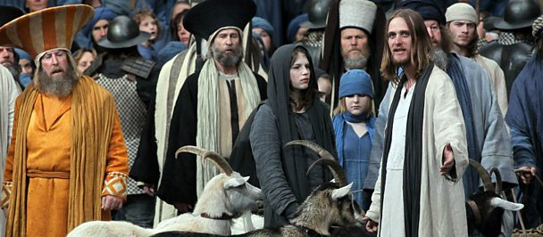 Jesus with people and goats in scene from Oberammergau in 2010