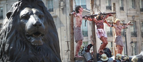 Passion play being performed in Trafalgar Square, London