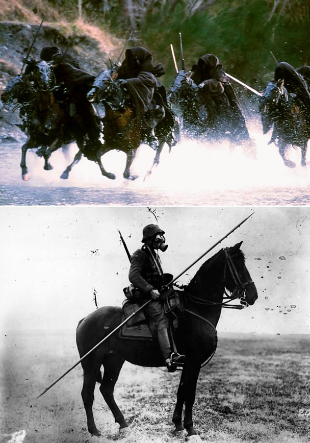 Ringwraiths from The Lord of the Rings (top) and German cavalry soldier in World War One