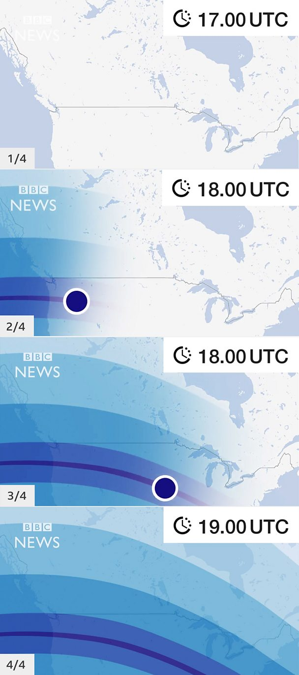 Four animation frames showing a growing storm on a hurricane-tracking map
