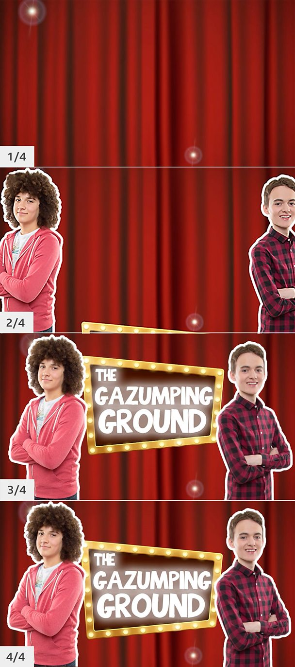 Four animation frames of the opening titles to 'The gazumping ground'