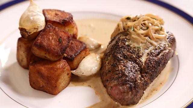 Steak Diane with sauté potatoes