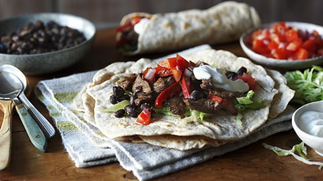 Low Fat Cake Recipes With Yogurt Uk: Low-fat Beef And Bean Burrito With Lime Yoghurt Recipe