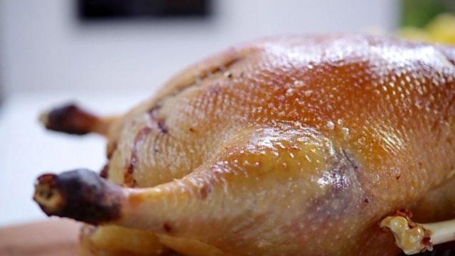 Roast goose with goose fat potatoes