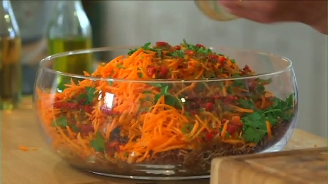Fiery red rice salad