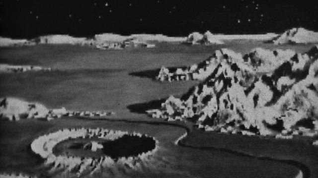 image of the moon's surface and title card of bbc's the moon documentary