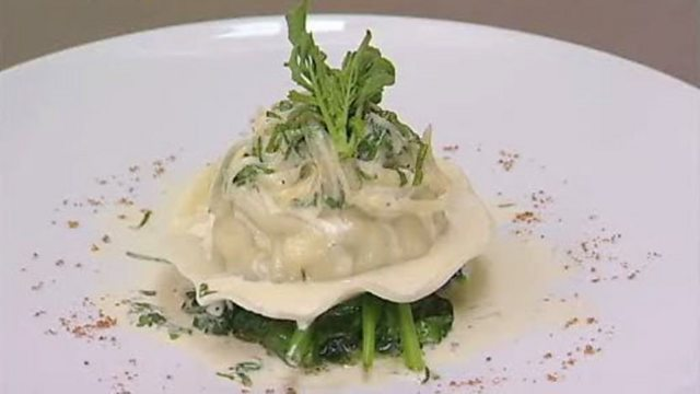 Mushroom ravioli with a white wine, spinach and tarragon cream sauce