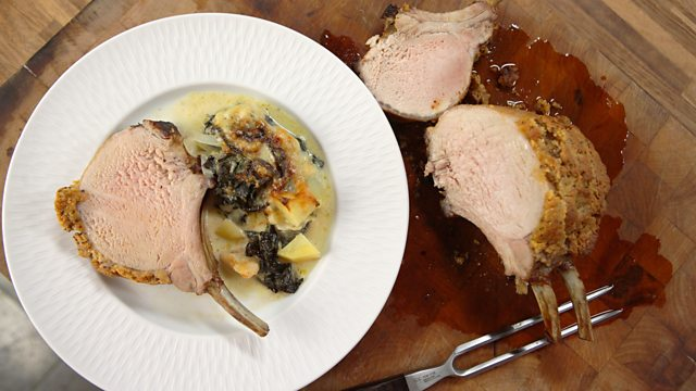 Beer marinated rack of pork with swiss chard gratin recipe bbc food beer marinated rack of pork with swiss chard gratin forumfinder Choice Image