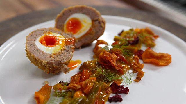 Scotch egg with homemade vegetable crisps