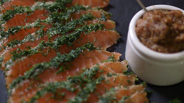 salmon gravadlax with champagne mustard recipe bbc food. Black Bedroom Furniture Sets. Home Design Ideas