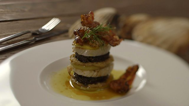 Pan-fried black pudding with scallops and ginger purée