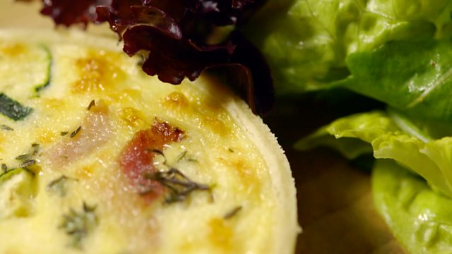 Cheddar, smoked bacon and courgette quiche
