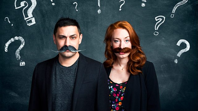Image of the podcast's hosts wearing mustaches