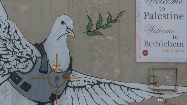 "Banksy's ""Peace Dove"" Dove carrying a leafy branch whilst wearing a bullet proof jacket. Painted on Israel's Gaza barrier."