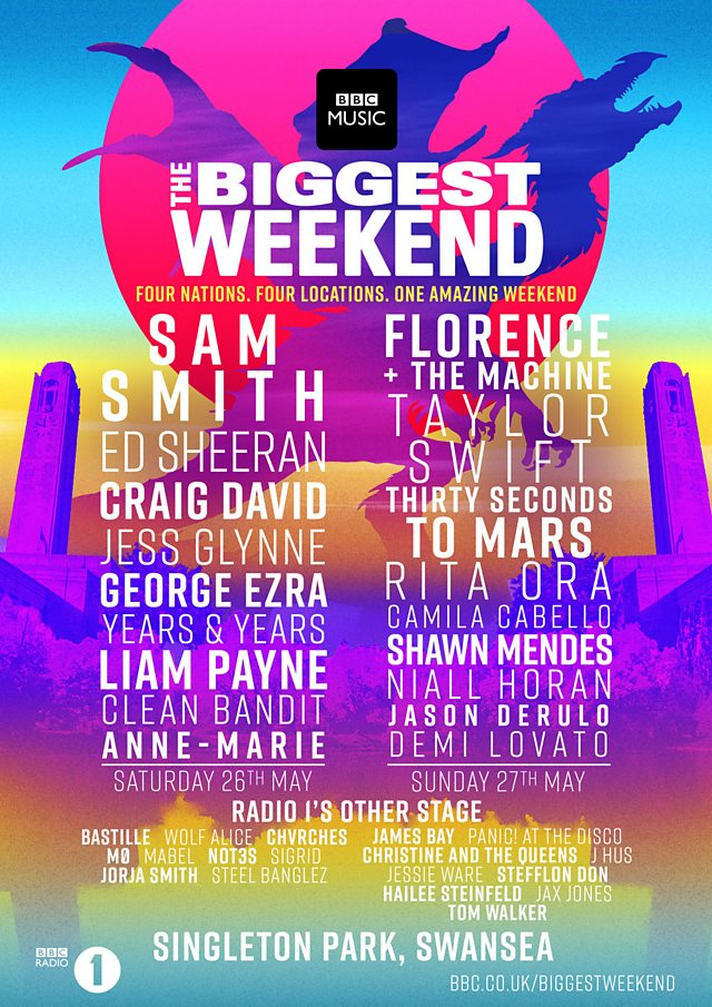 BBC Radio 1 The Biggest Weekend 2018 promotional poster