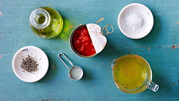 Oil, tinned tomatoes, salt and pepper, stock - basics for a store cupboard