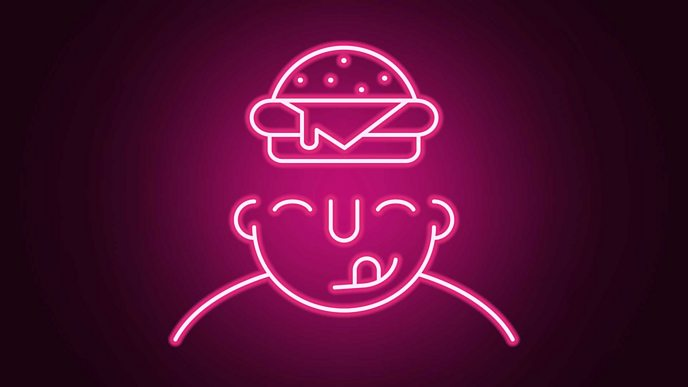 A graphic of a neon light in the shape of a head with a burger in the place of the forehead/brain.